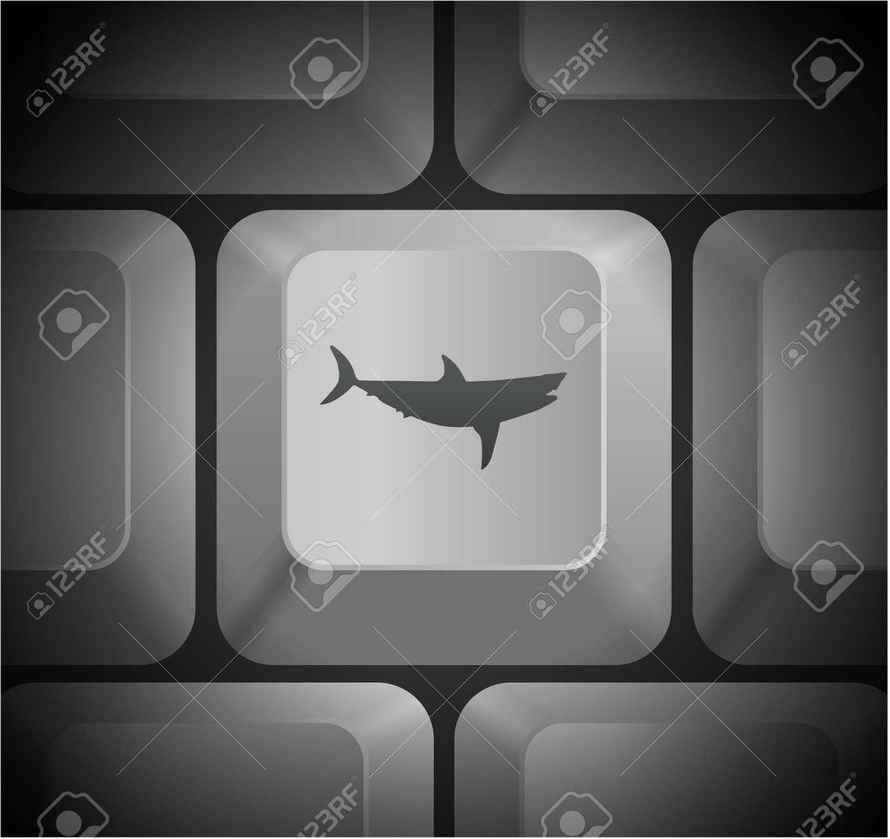 Shark Icon on Computer KeyboardOriginal Illustration