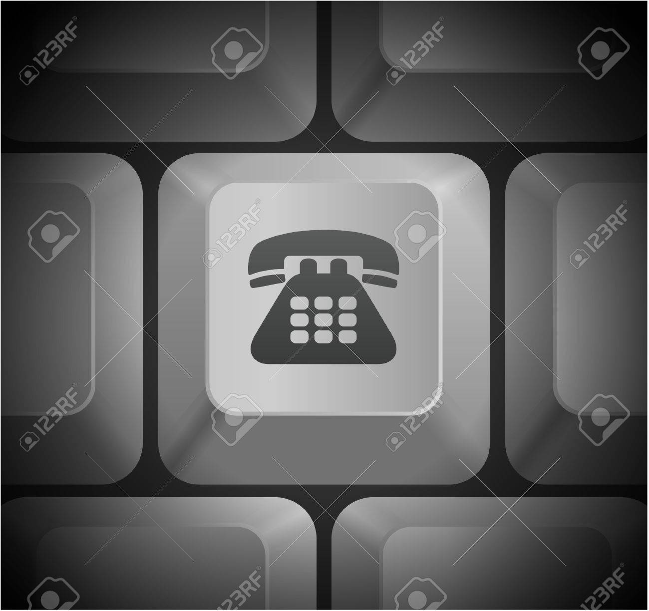 Telephone Icon On Computer Keyboard Original Illustration Royalty