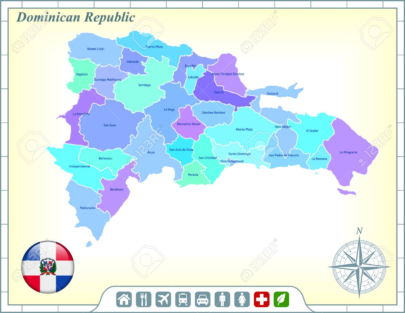 Dominican Republic Map With Flag Buttons And Assistance & Activates ...