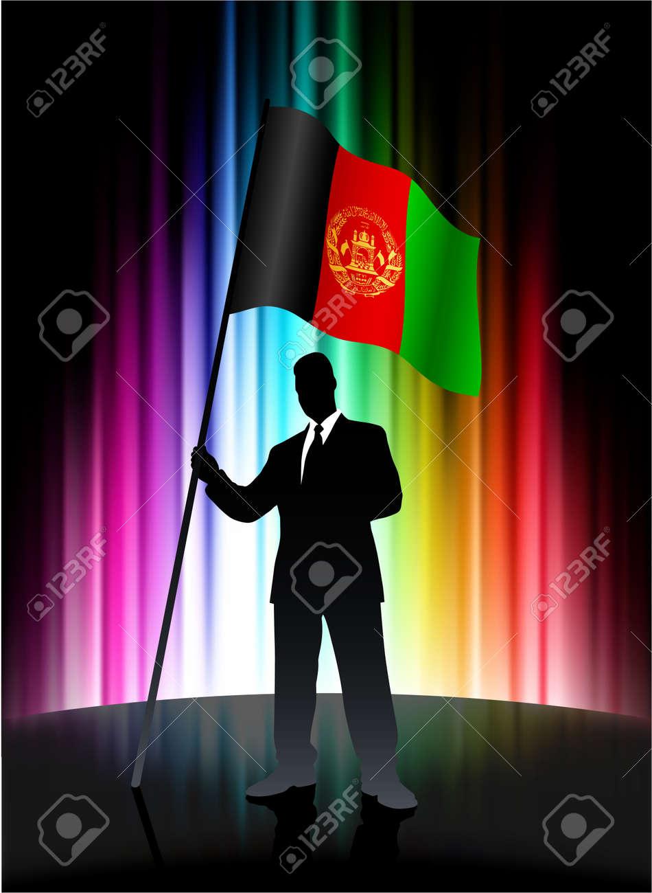 Afghanistan Flagge Mit Geschaftsmann Auf Abstrakte Spektrum