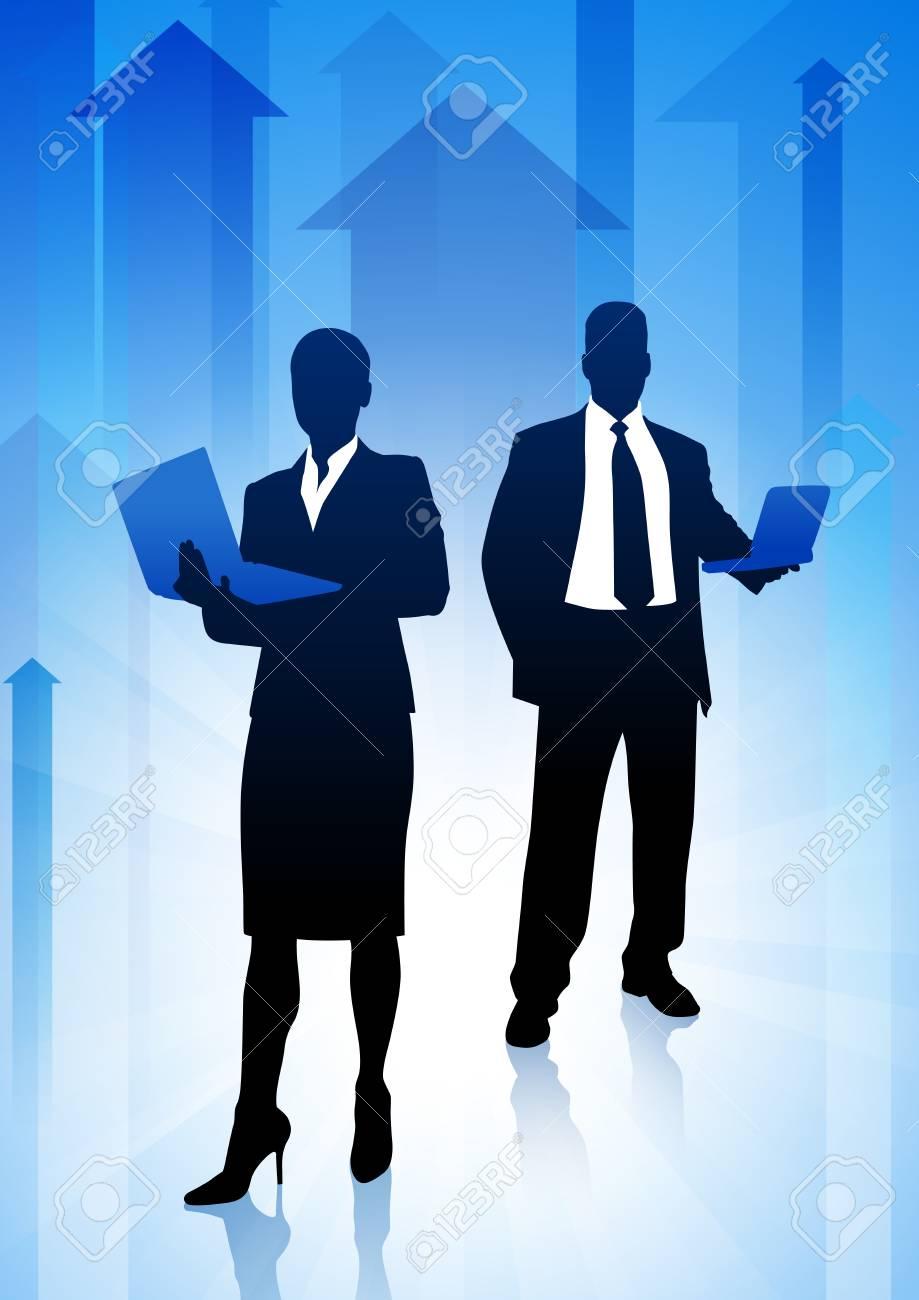 Business Team on Arrows BackgroundOriginal Illustration Stock Vector - 22372994
