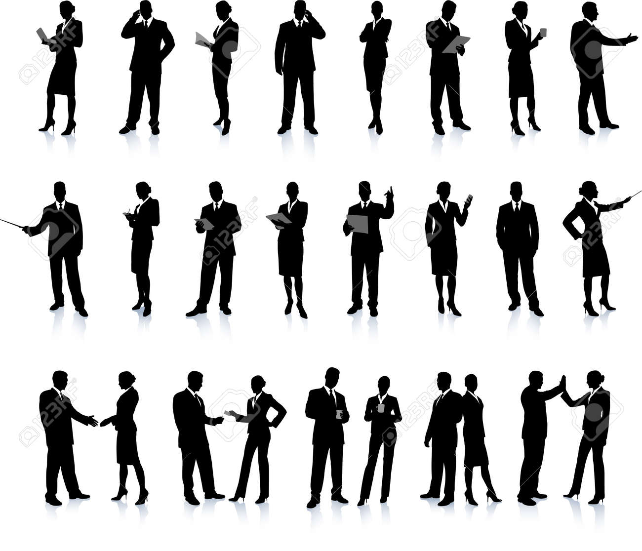 Business People Silhouette Stock Vector - 22373087