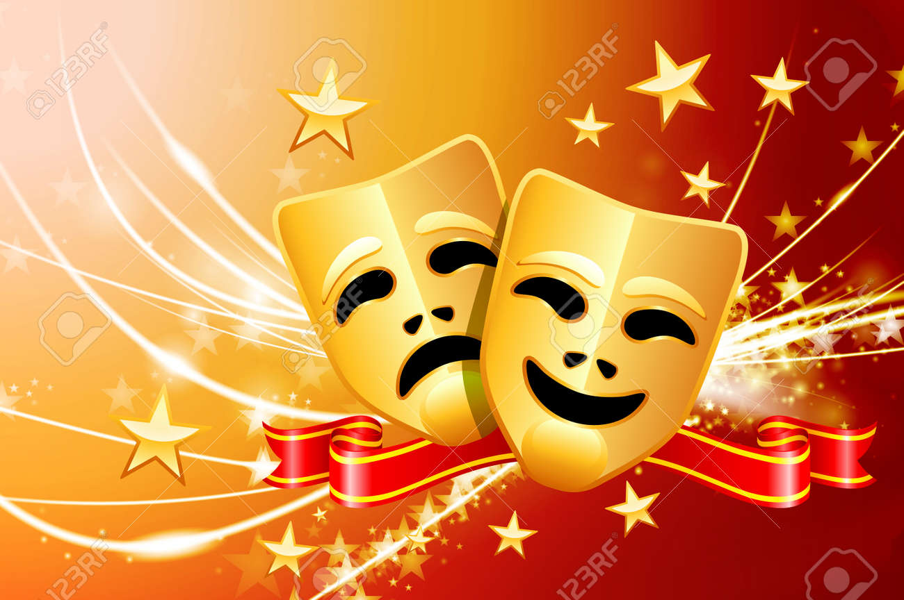 Comedy And Tragedy Masks On Abstract Modern Light Background Royalty Free Cliparts Vectors And Stock Illustration Image 22408149