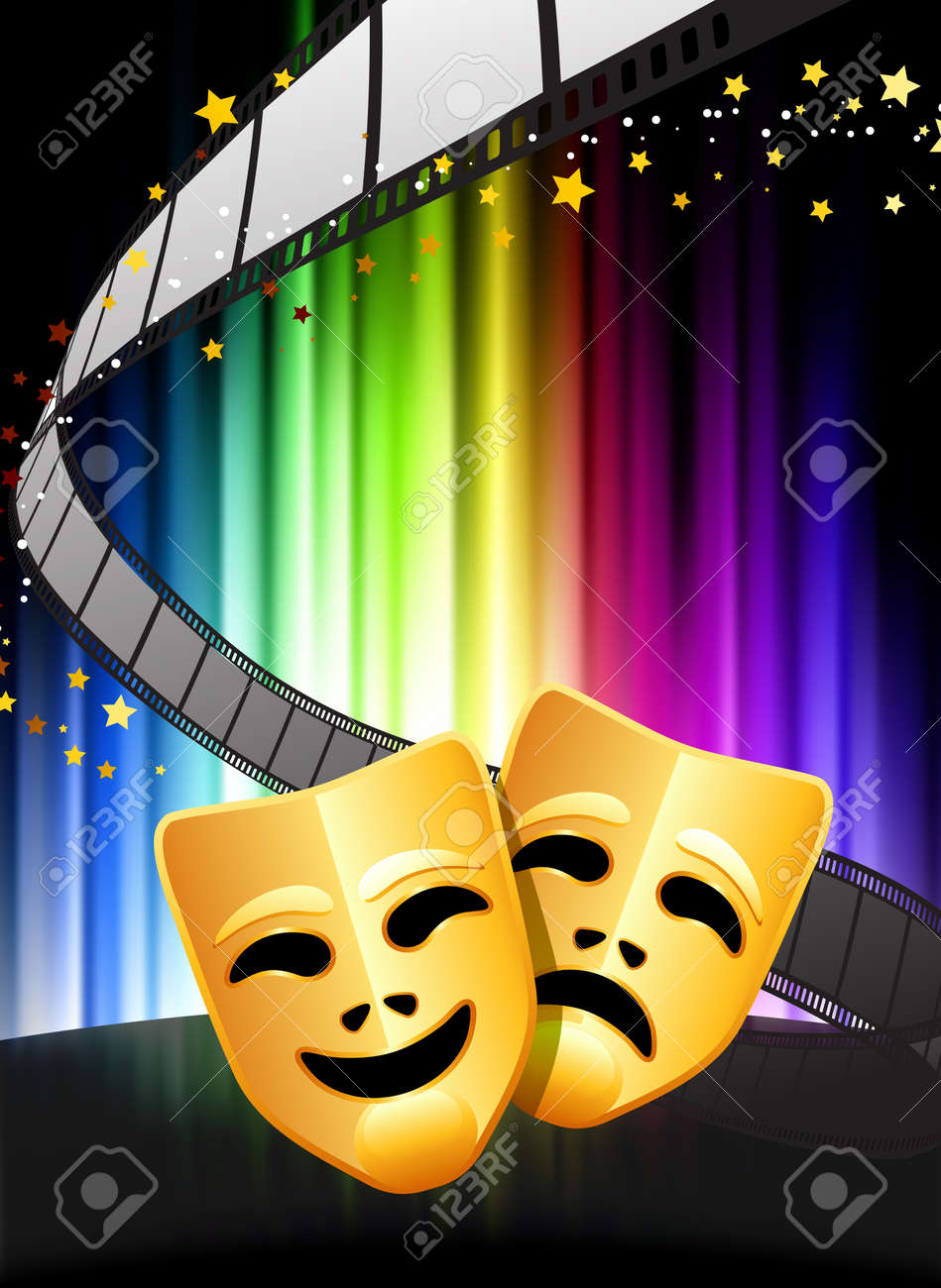 Comedy and Tragedy Masks on Abstract Spectrum Background Stock Vector - 22412111