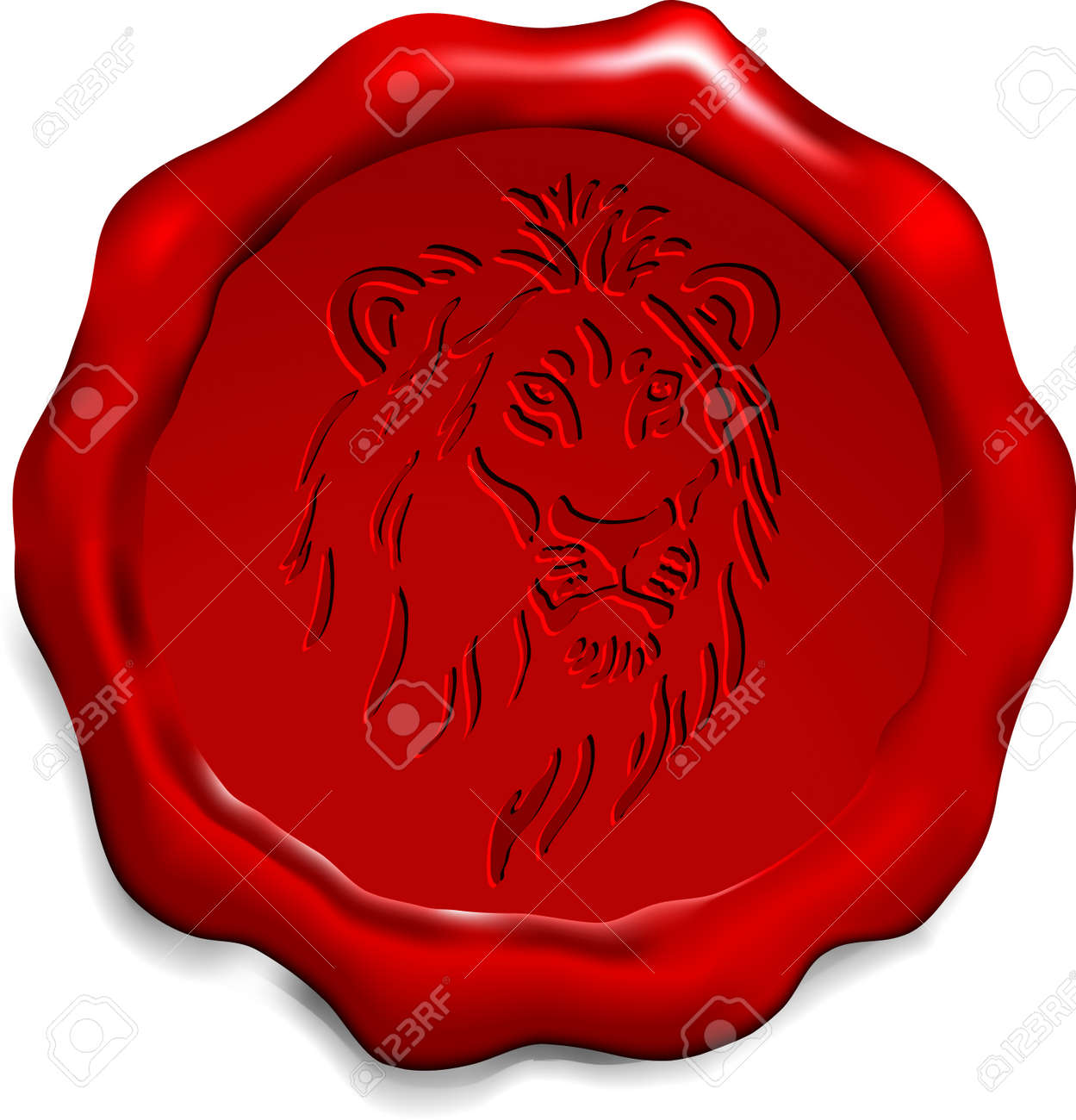 lion on wax seal origianl vector illustration wax seal letter stamp ideal for old style concept