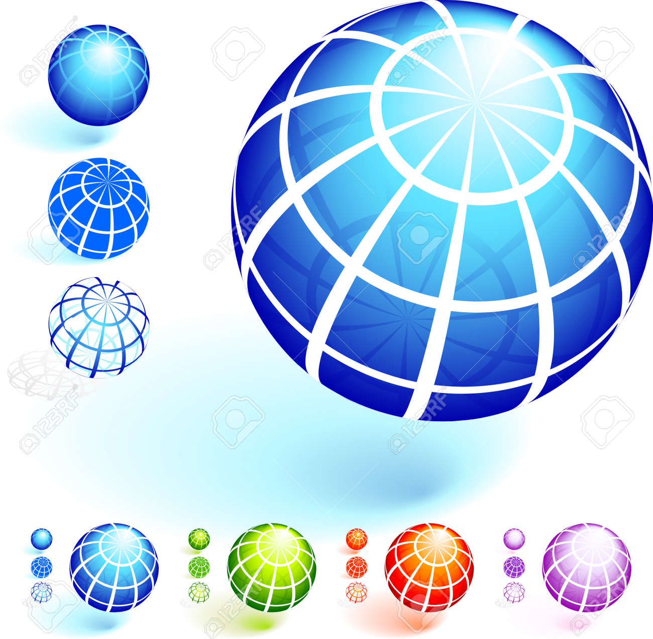 Wire Frame Globe Collection Original Vector Illustration Royalty ...