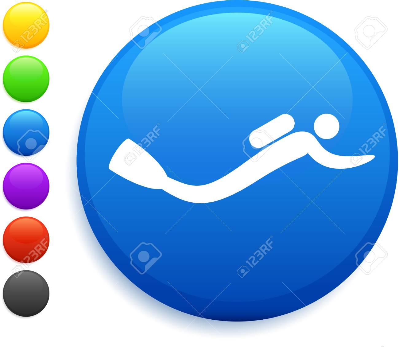 scuba icon on round internet buttonoriginal vector illustration6 color versions included Stock Vector - 22419075