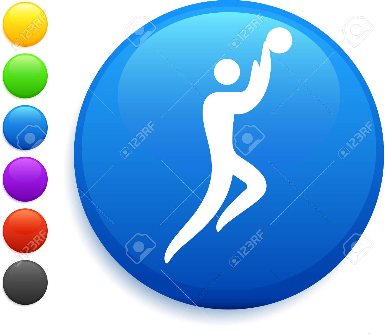 basketball icon on round internet button