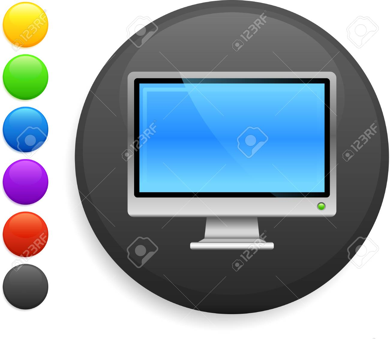 computer screen icon on round internet button