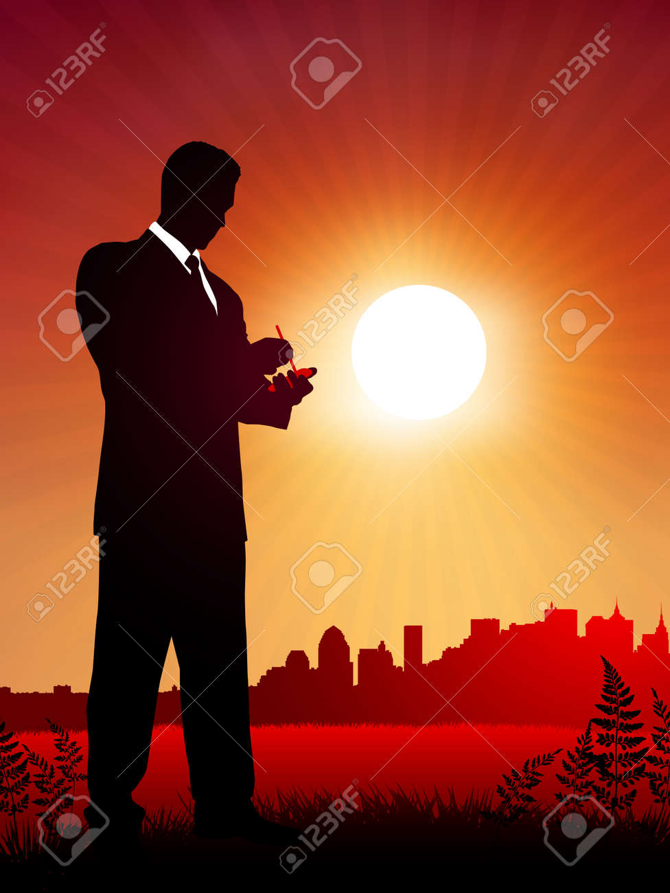 businessman at work on sunset backgroundOriginal Vector IllustrationBusiness People on Sunset Background Stock Vector - 22431258
