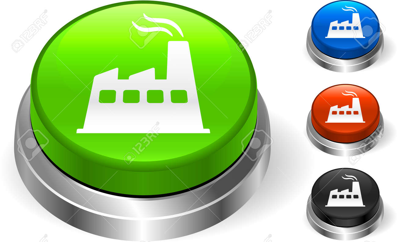 Factory Icon on Internet ButtonOriginal Vector IllustrationThree Dimensional Buttons Stock Vector - 22431476