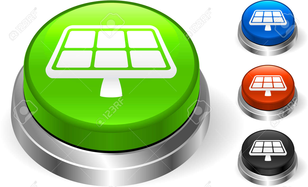 Solar Panel Icon on Internet ButtonOriginal Vector IllustrationThree Dimensional Buttons Stock Vector - 22431484