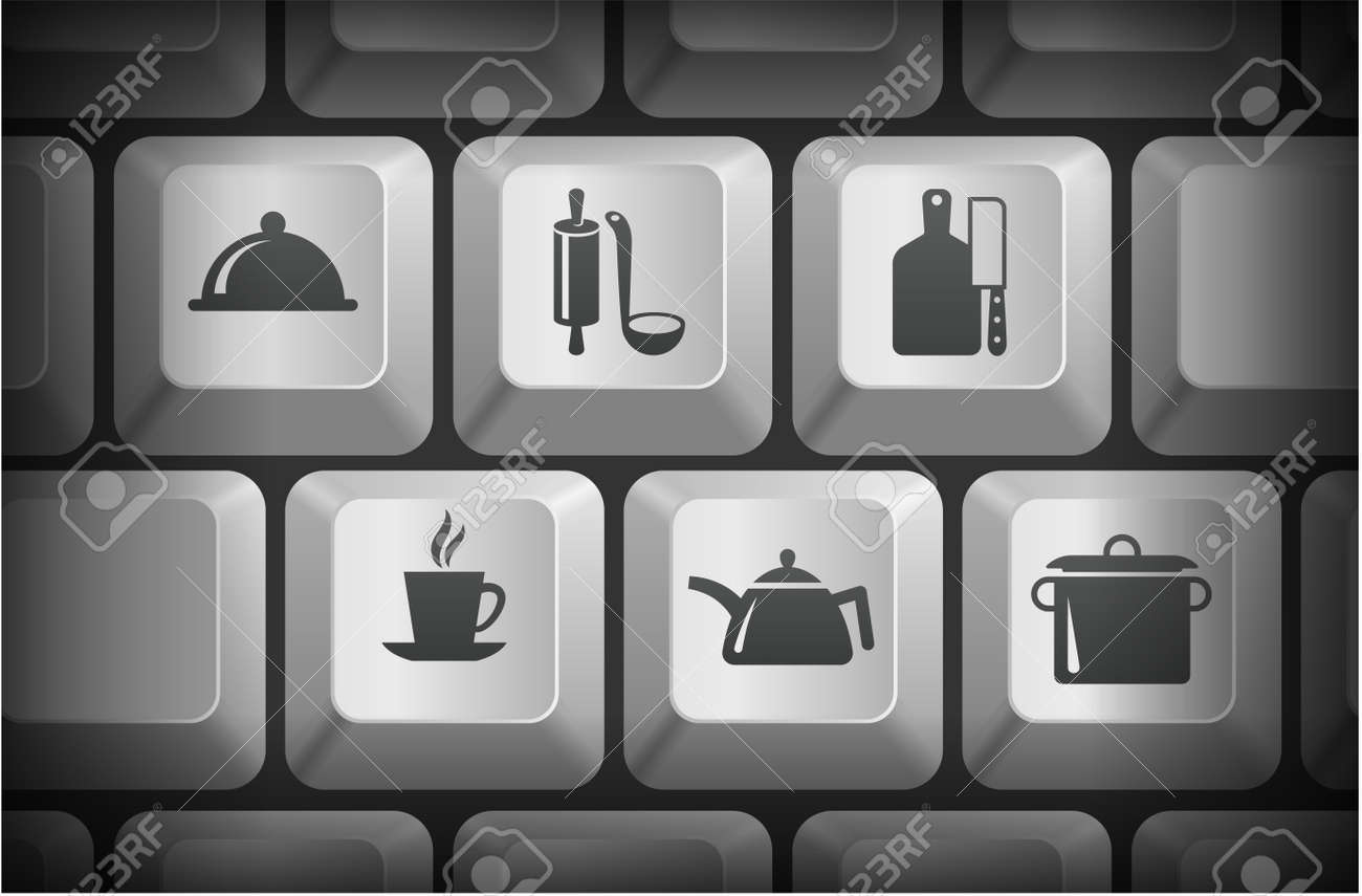 Food Preperation Icons on Computer Keyboard Buttons