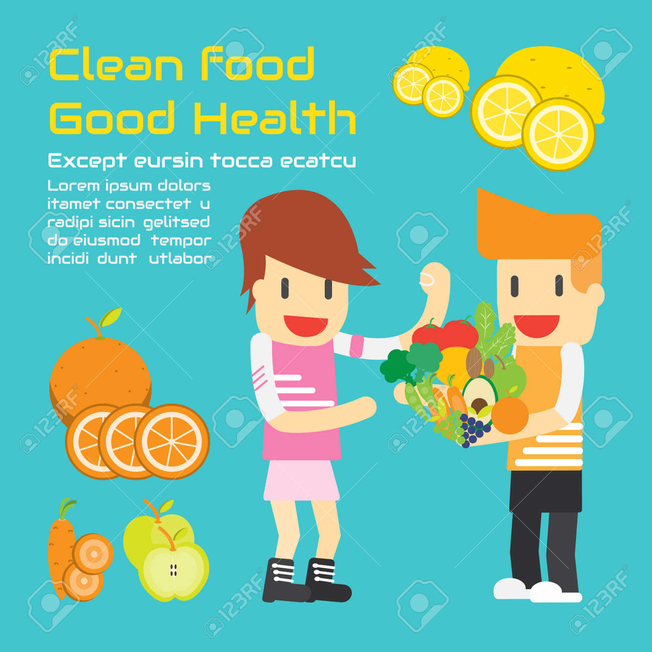 Food and good health - Clean Food Good Health Vector Cartoon Business Stock Vector 30560967