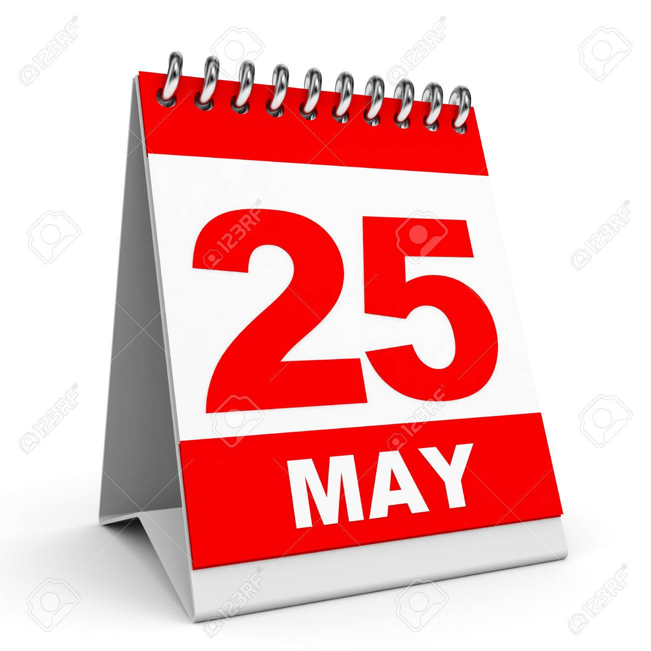 Calendar On White Background. 25 May. 3D Illustration. Stock Photo ...