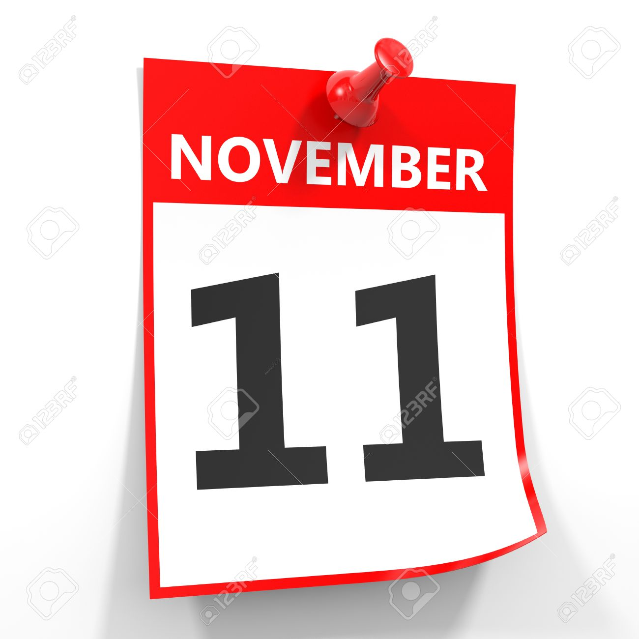 11 november calendar sheet with red pin on white background stock
