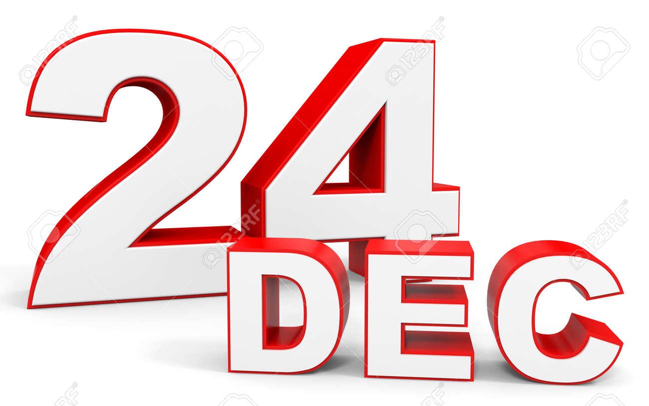 12 月 24 日。白い背景の上の 3d...