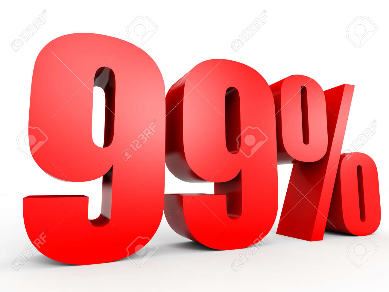 Discount 99 percent off. 3D illustration on white background. - 54873537