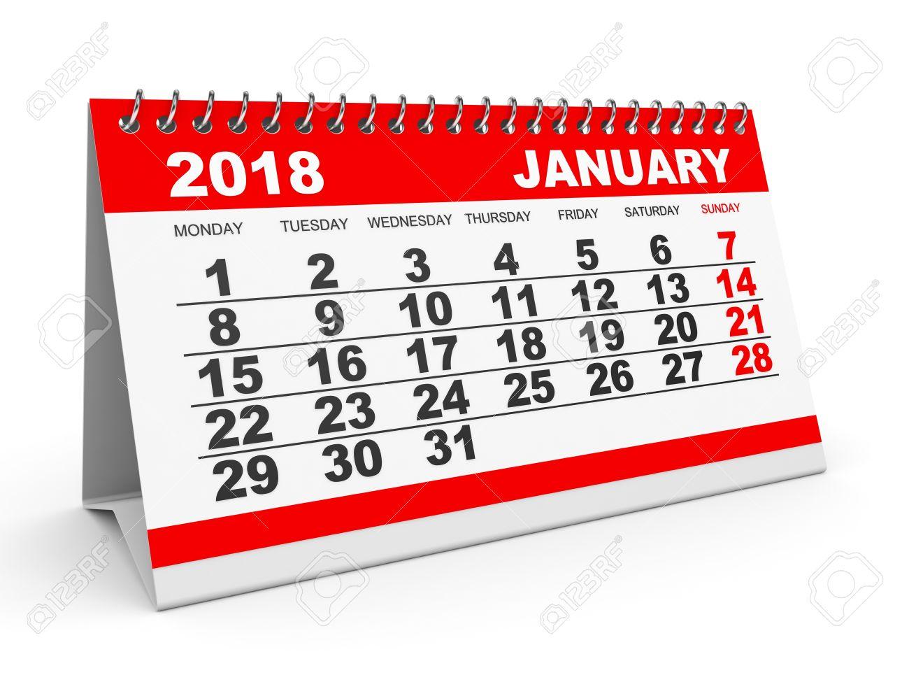 Calendar January 2018 On White Background. 3D Illustration. Stock ...