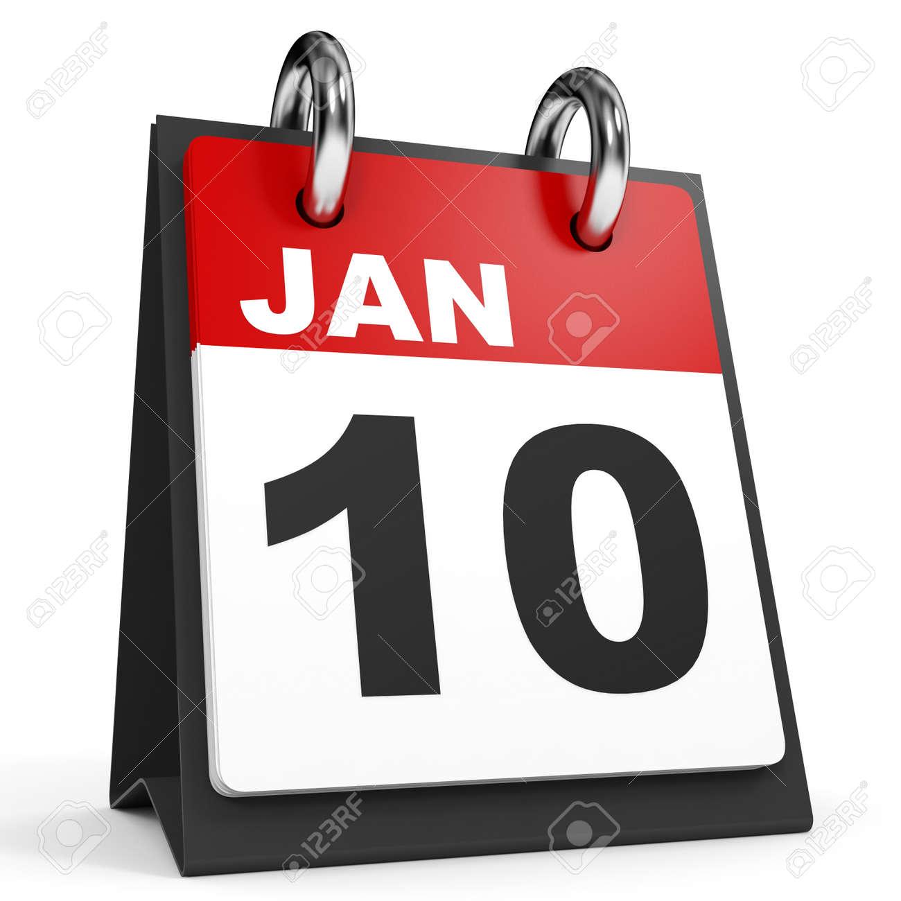 1 月 10 日 白い背景のカレンダーです 3 D イラスト の写真素材 画像素材 Image