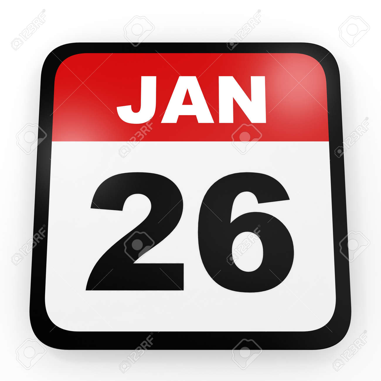 26 De Enero De Calendario En El Fondo Blanco. Ilustración 3D. Fotos,  Retratos, Imágenes Y Fotografía De Archivo Libres De Derecho. Image  64097147.