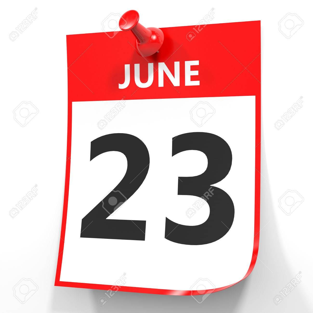 6 月 23 日 白い背景のカレンダーです 3 D イラスト の写真素材 画像素材 Image