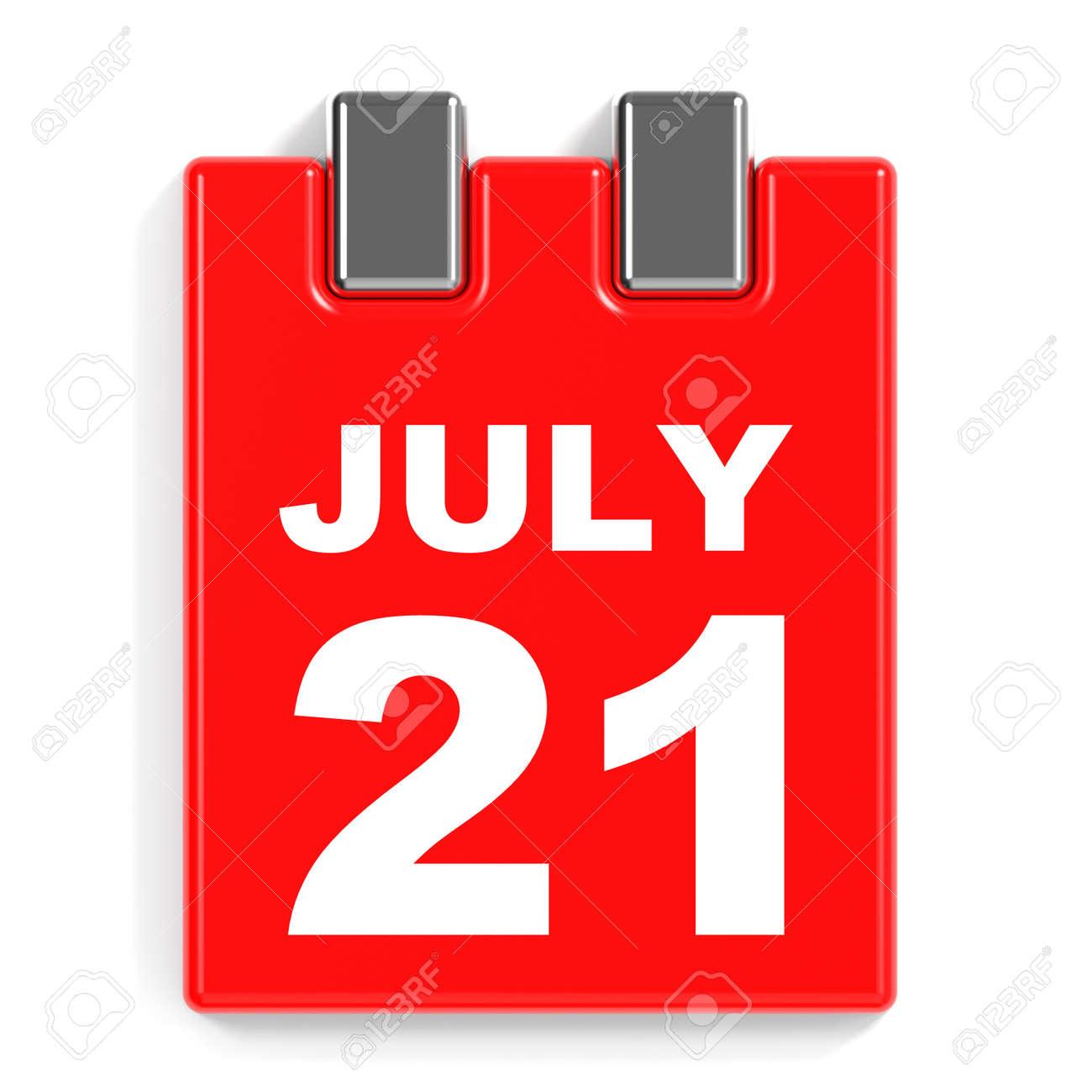 7 月 21 日 白い背景のカレンダーです 3 D イラスト の写真素材 画像素材 Image