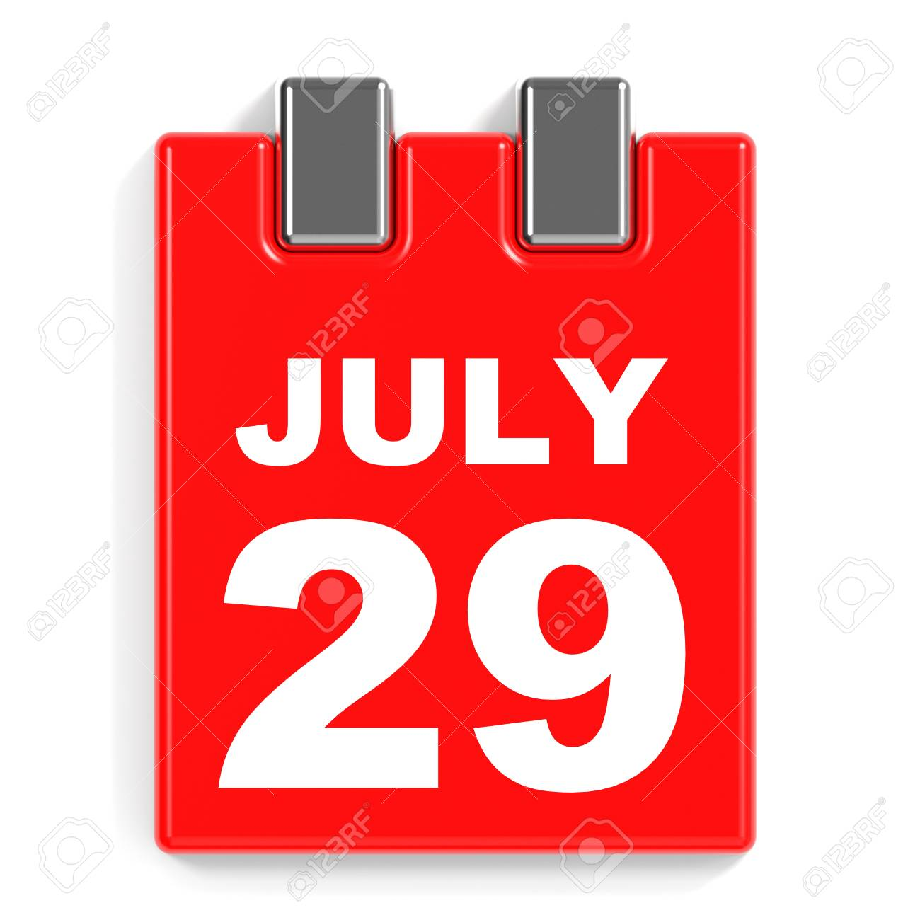 Calendario Julio 1976.29 De Julio De Calendario En El Fondo Blanco Ilustracion 3d
