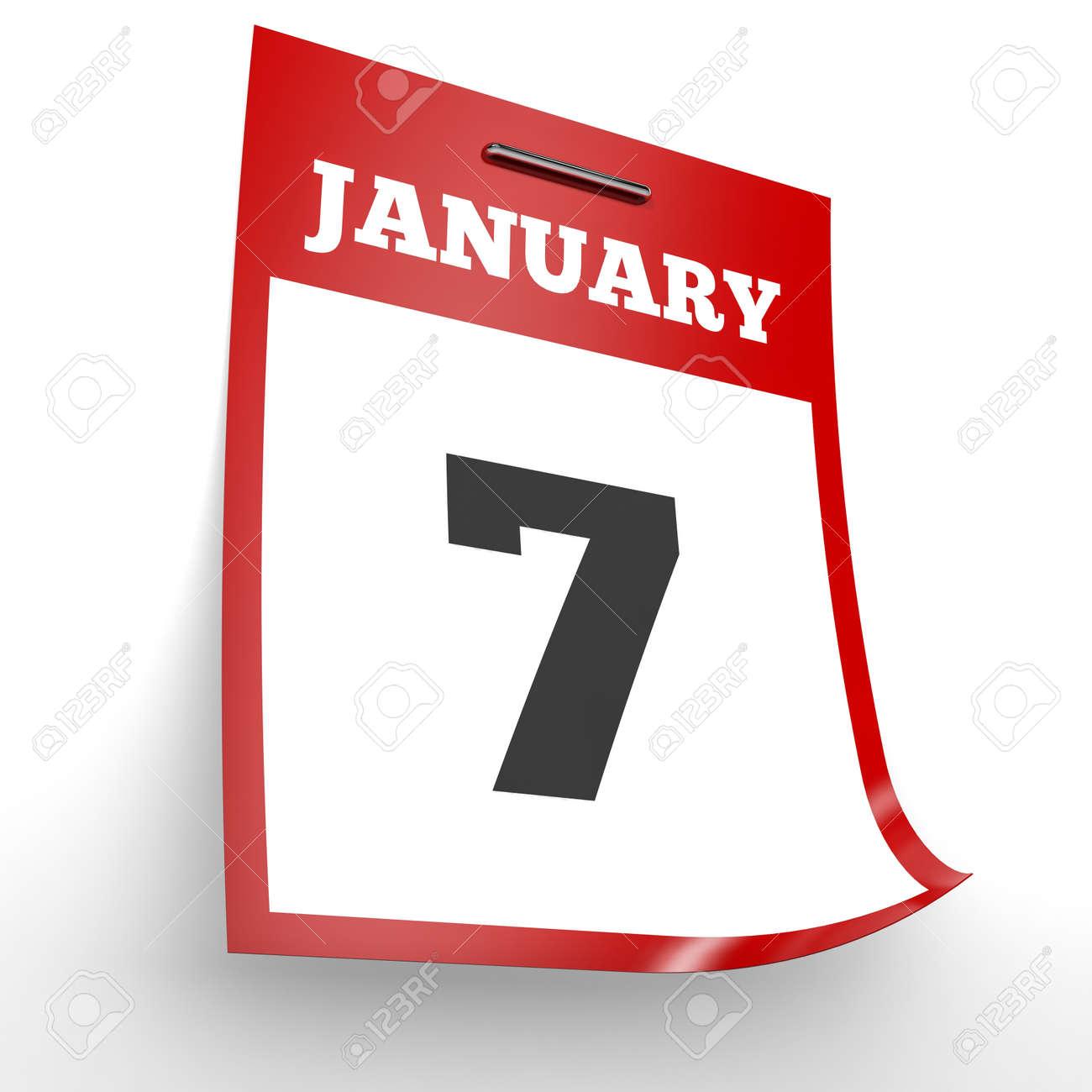 Calendario Enero 1978.7 De Enero De Calendario En El Fondo Blanco Ilustracion 3d