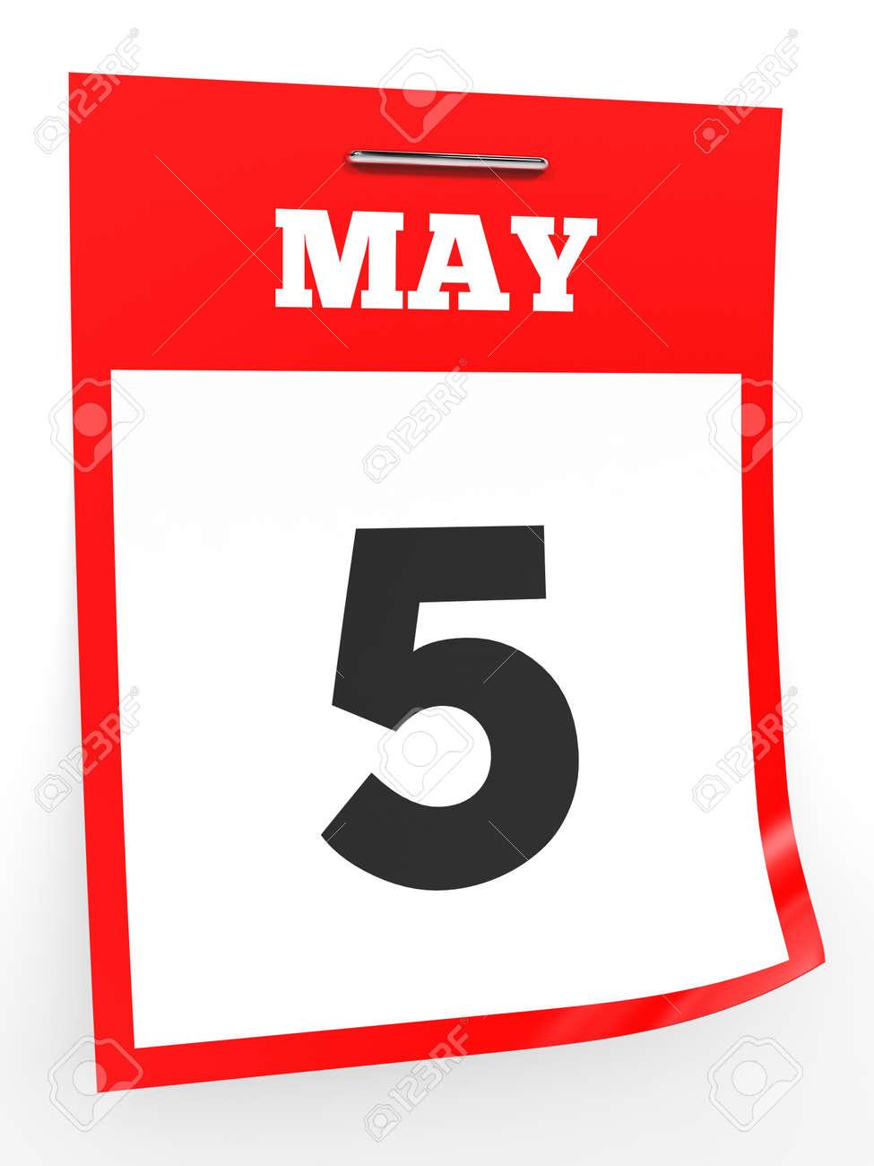 5 月 5 日 白い背景のカレンダーです 3 D イラスト の写真素材 画像素材 Image