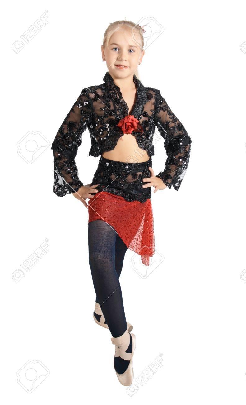 quality design c2262 0ece6 La ragazza in un dancing abito rosso e nero, è isolato su uno sfondo bianco
