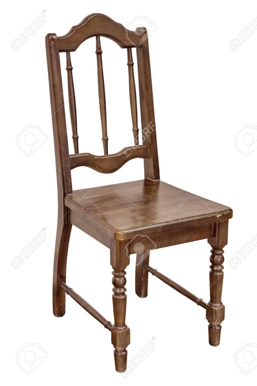 Alter Brauner Stuhl Auf Einem Weißen Hintergrund Lizenzfreie Fotos