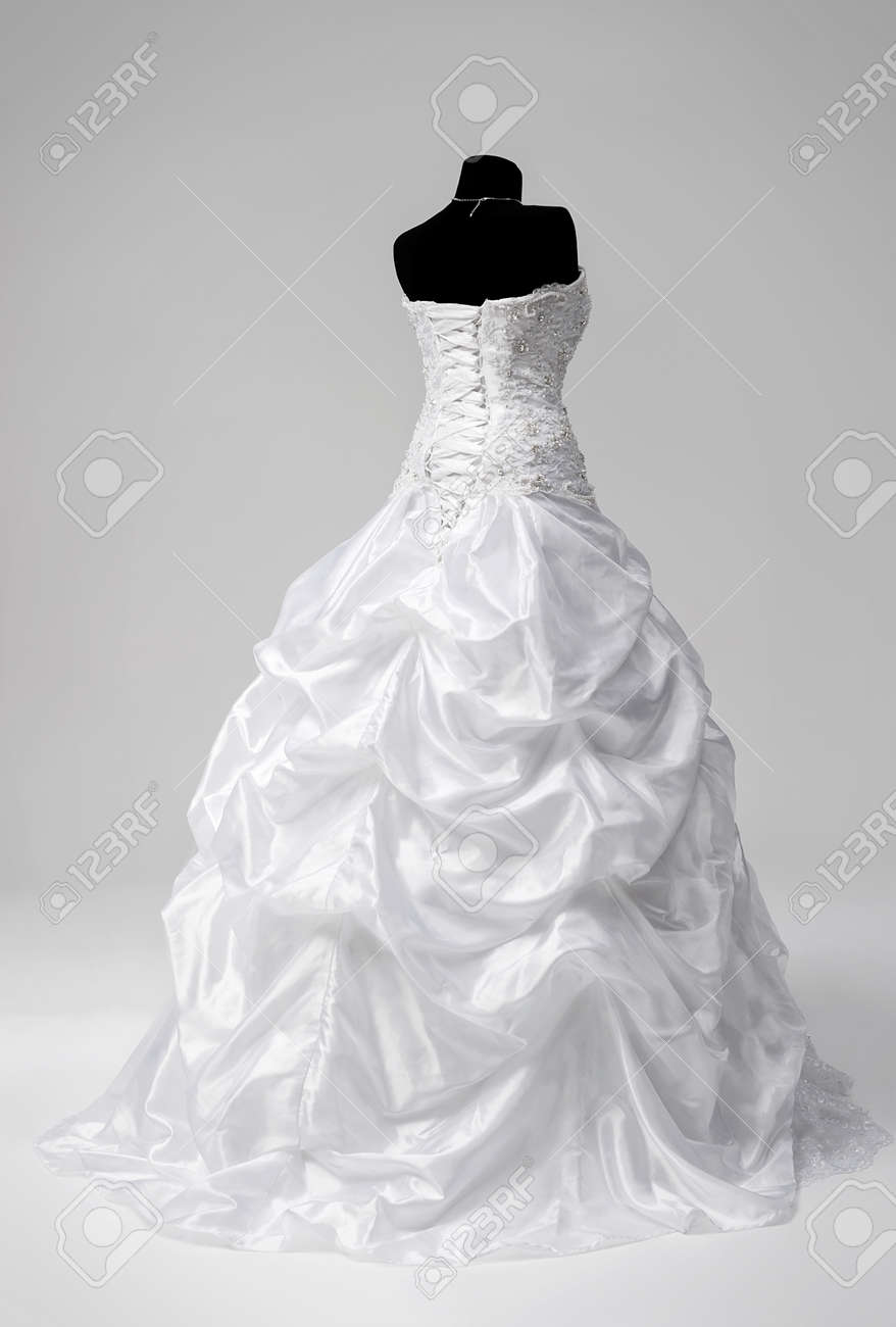 Beautiful Snow-white Bridal Dress On A Mannequin Stock Photo ...