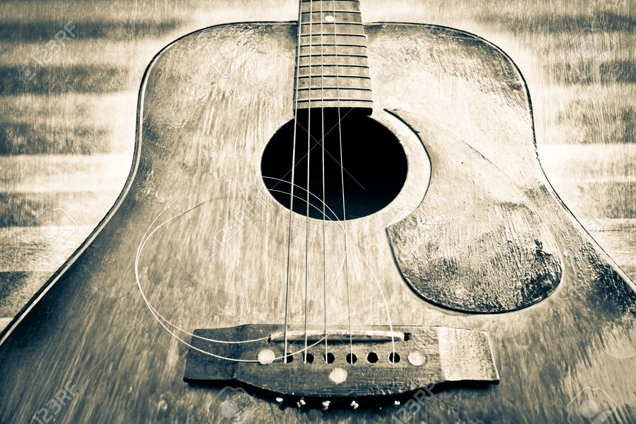Black And White Acoustic Guitar Stock Photo
