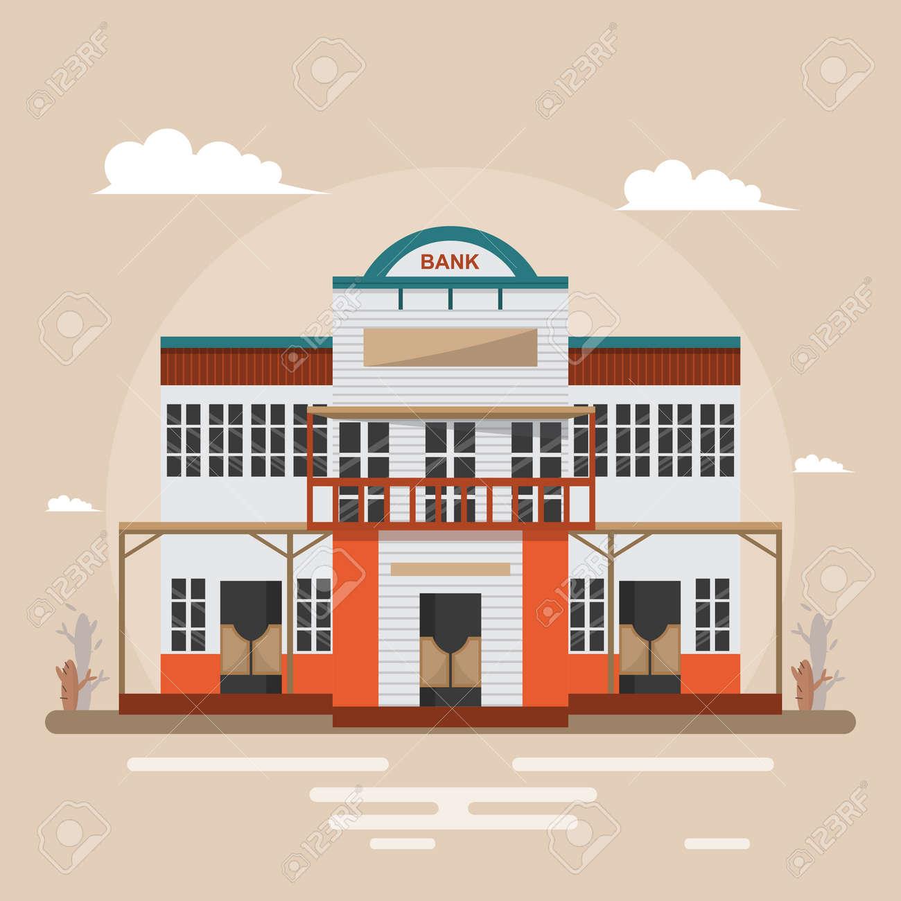 Design Vintage Bank.Bank In Western Town On Brown Background Building Design Vintage