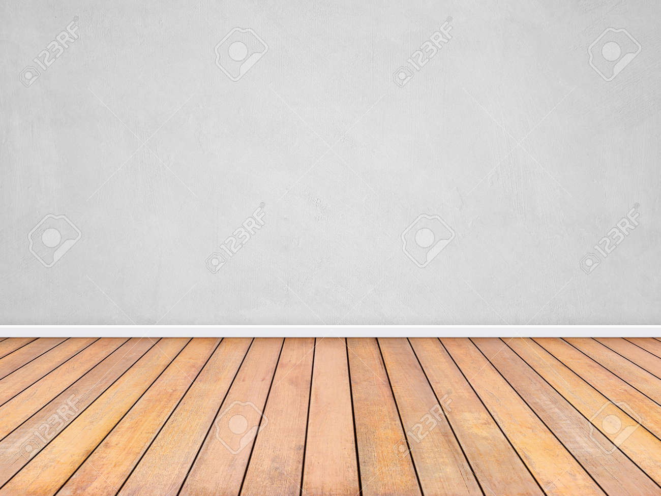 Room interior vintage with white wall and wood floor background - 165027133