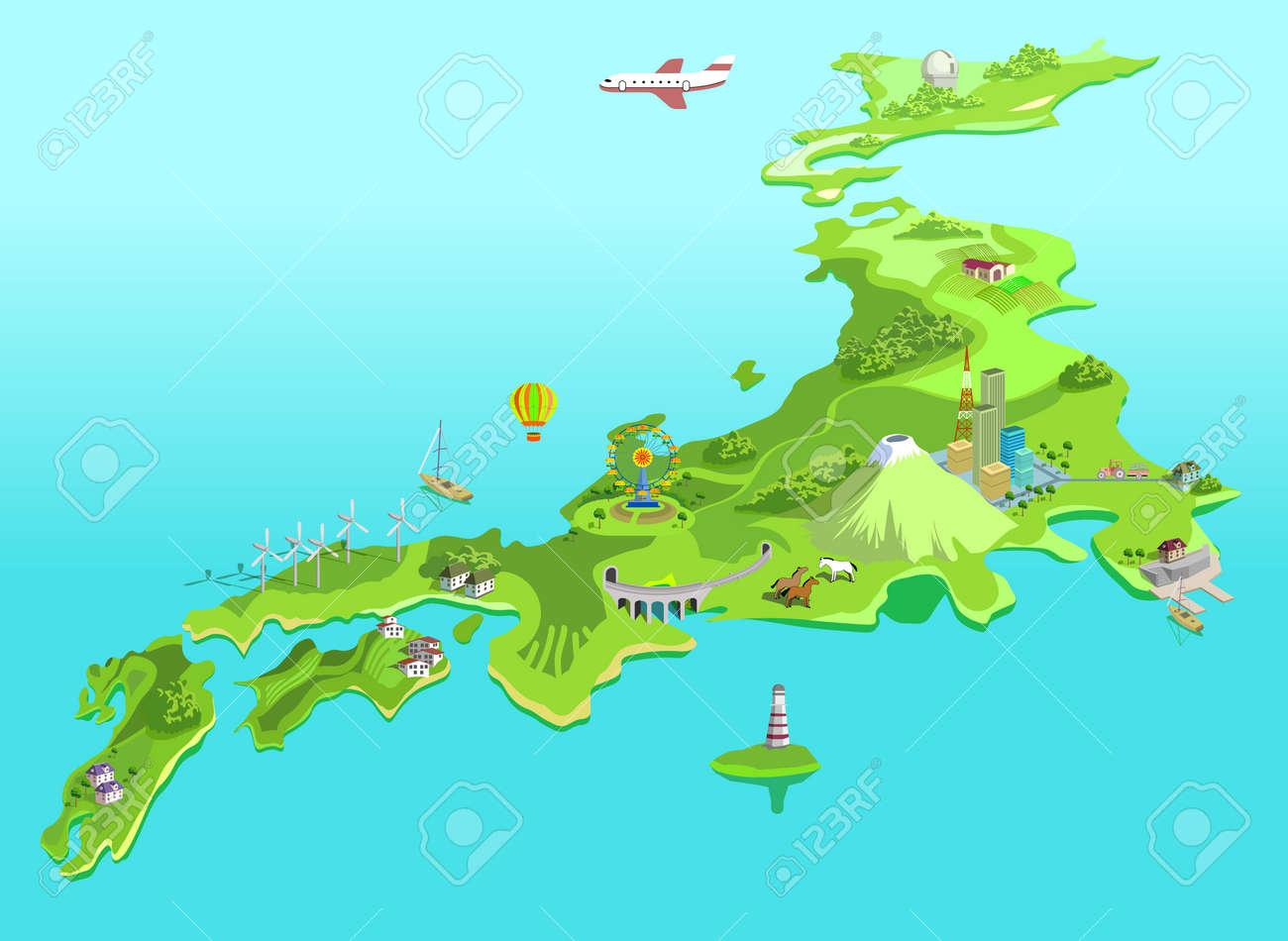 Semi-abstract Japan Map. Eco Islands. Fudzijama Royalty Free ...