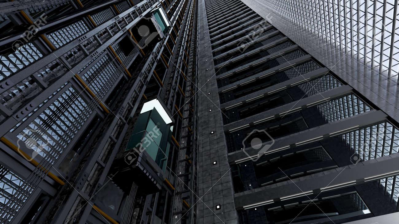 3d rendering  An open Elevator shaft