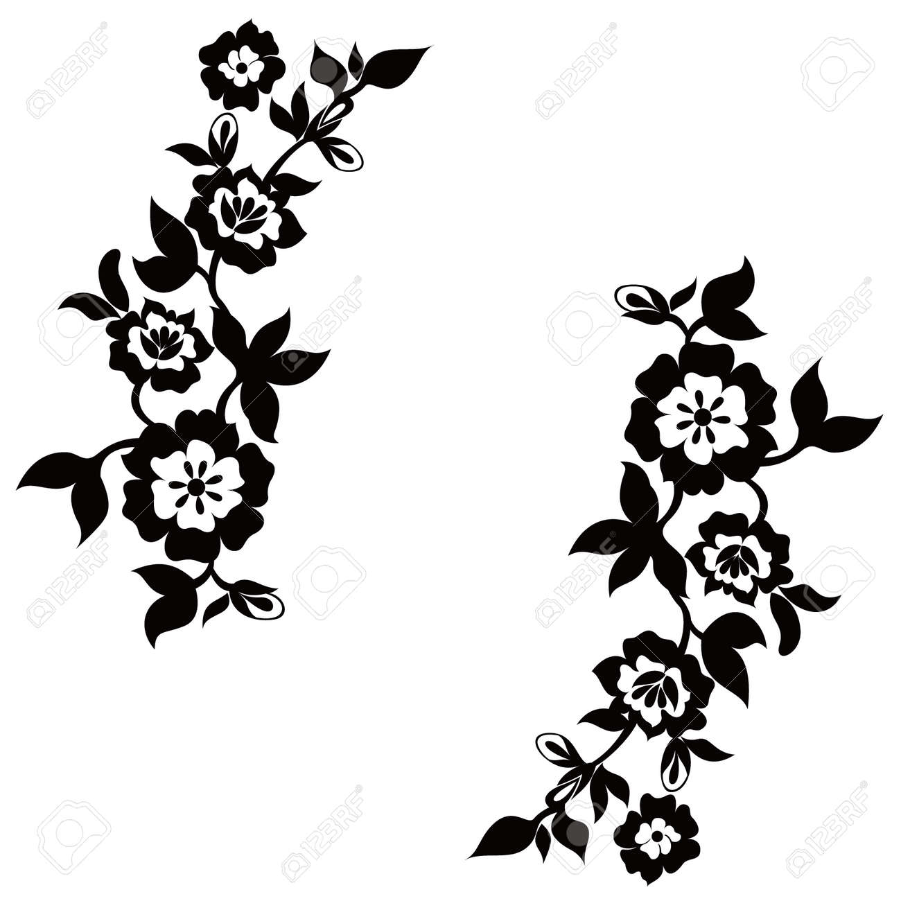 vector floral silhouette on white background royalty free cliparts rh 123rf com flower silhouette vector png floral silhouette vector