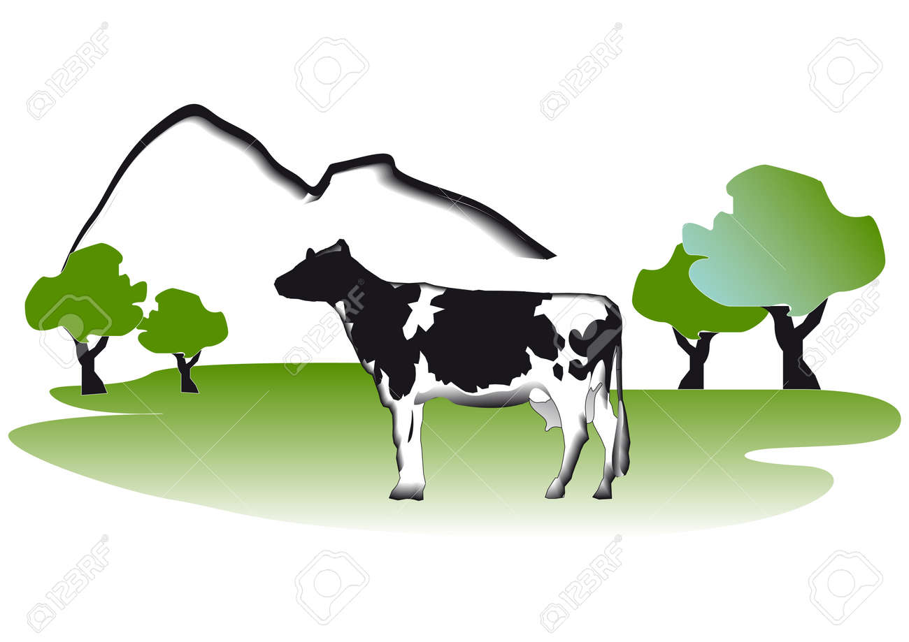 Cow in the meadow Stock Vector - 7694329