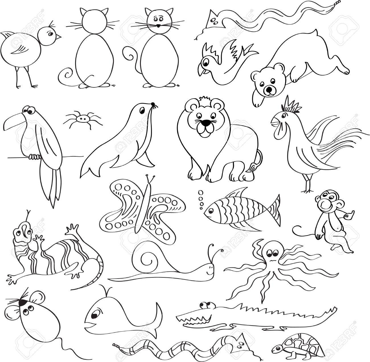 Uncategorized Drawn Pictures Of Animals animal drawn royalty free cliparts vectors and stock vector 7694407