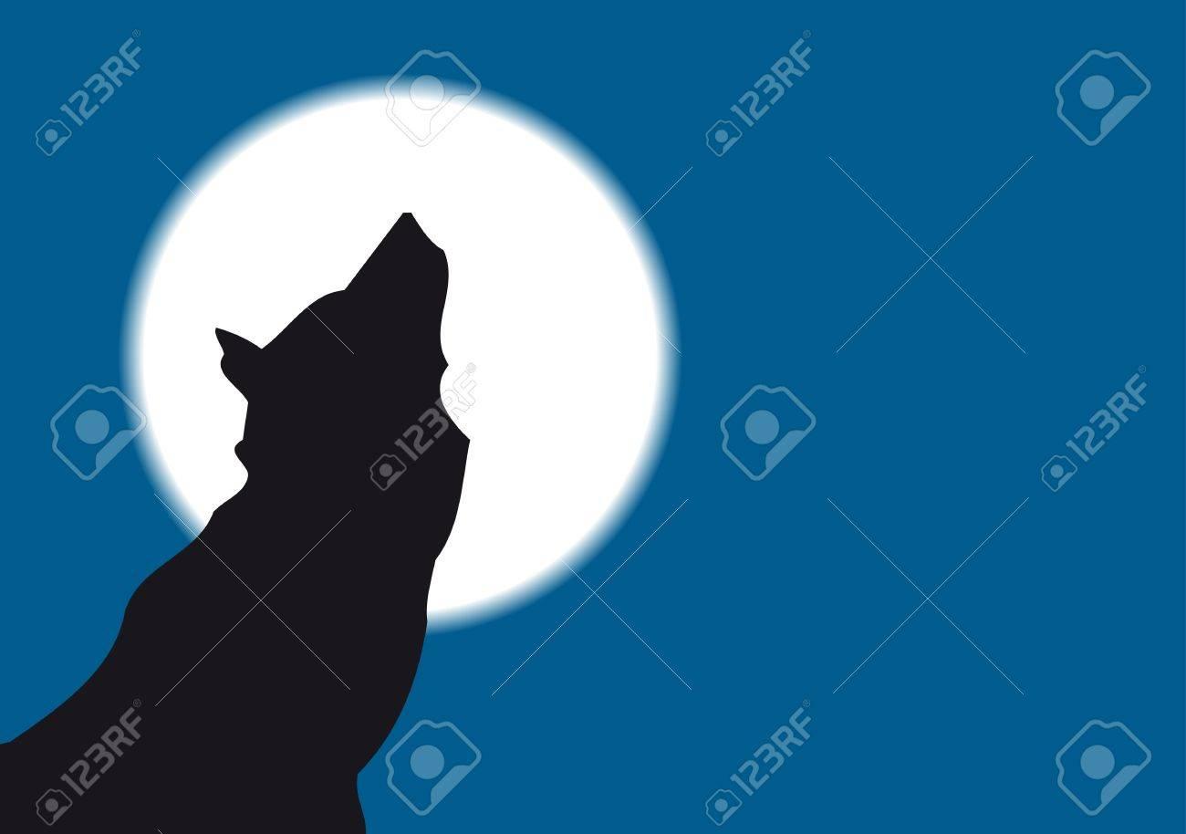 Lobo Aullando A La Luna Llena Royalty Free Cliparts Vectors And