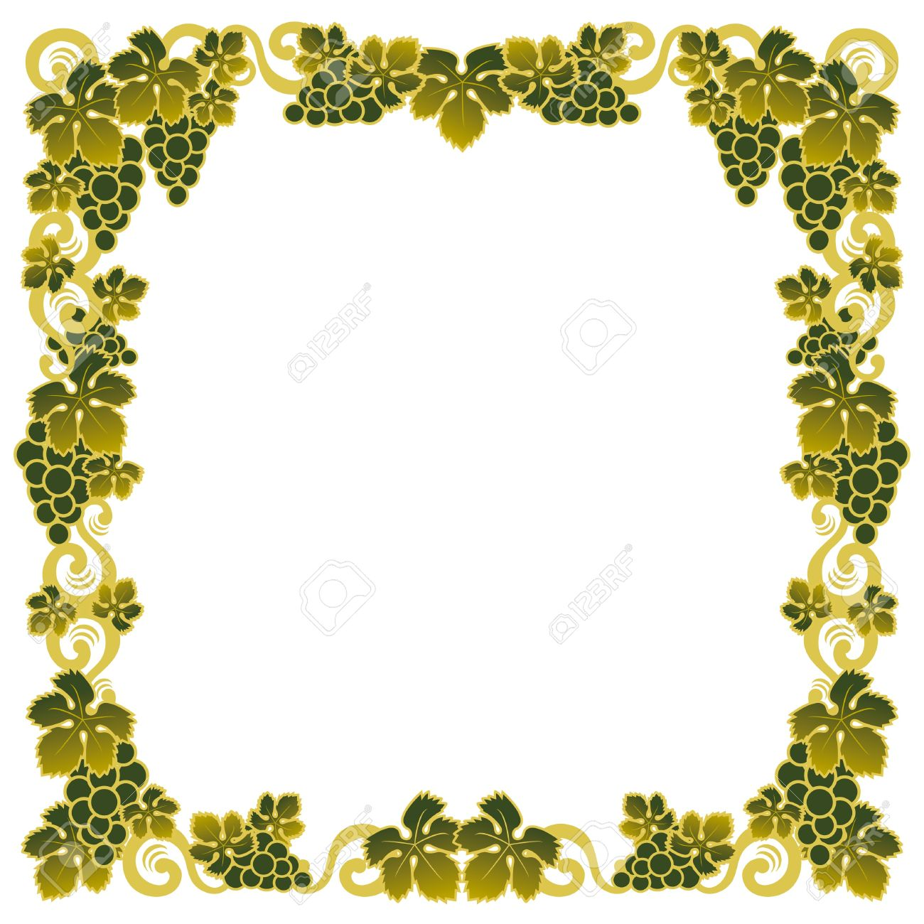 border with a bunch of green grapes - 7739568