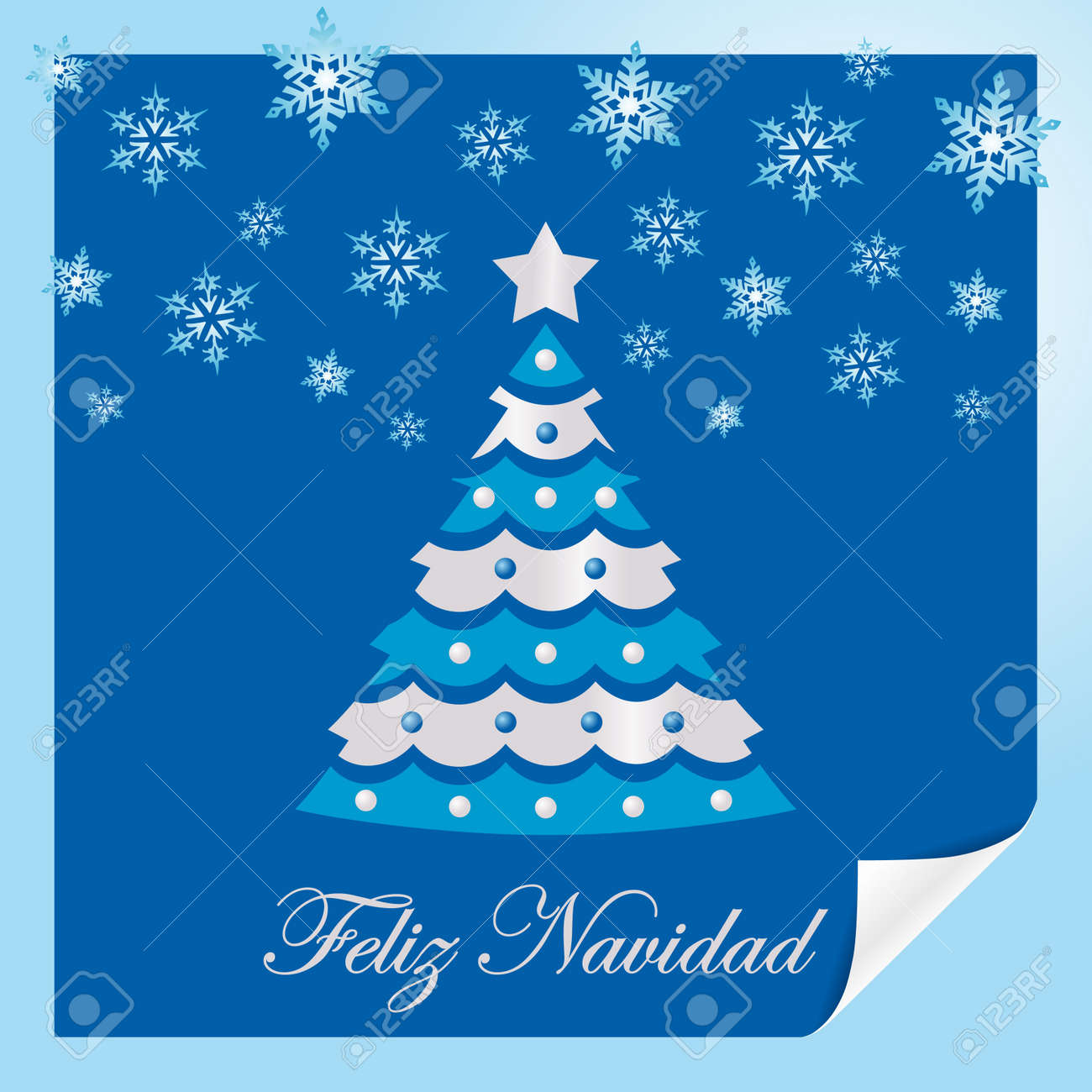 Christmas Card Blue Spanish Royalty Free Cliparts, Vectors, And ...