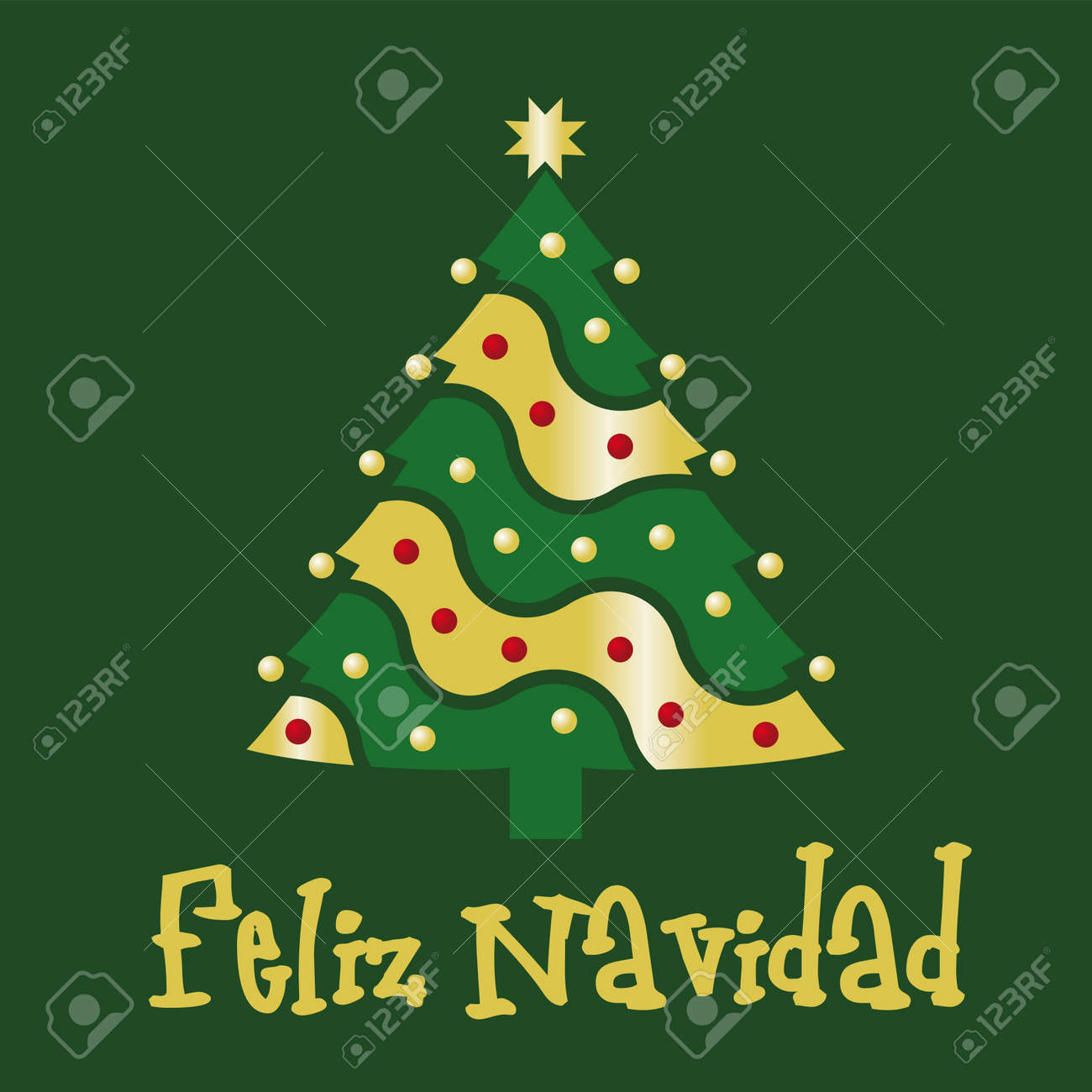 Christmas Card Green Spanish Royalty Free Cliparts, Vectors, And ...
