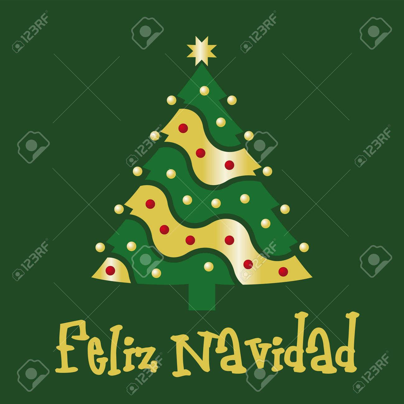 Christmas Card Green Spanish Royalty Free Cliparts, Vectors, And ...
