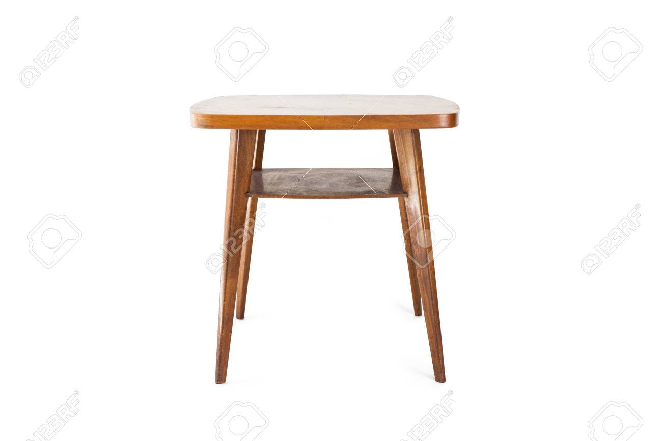 Retro Table On White Background Stock Photo   70198053