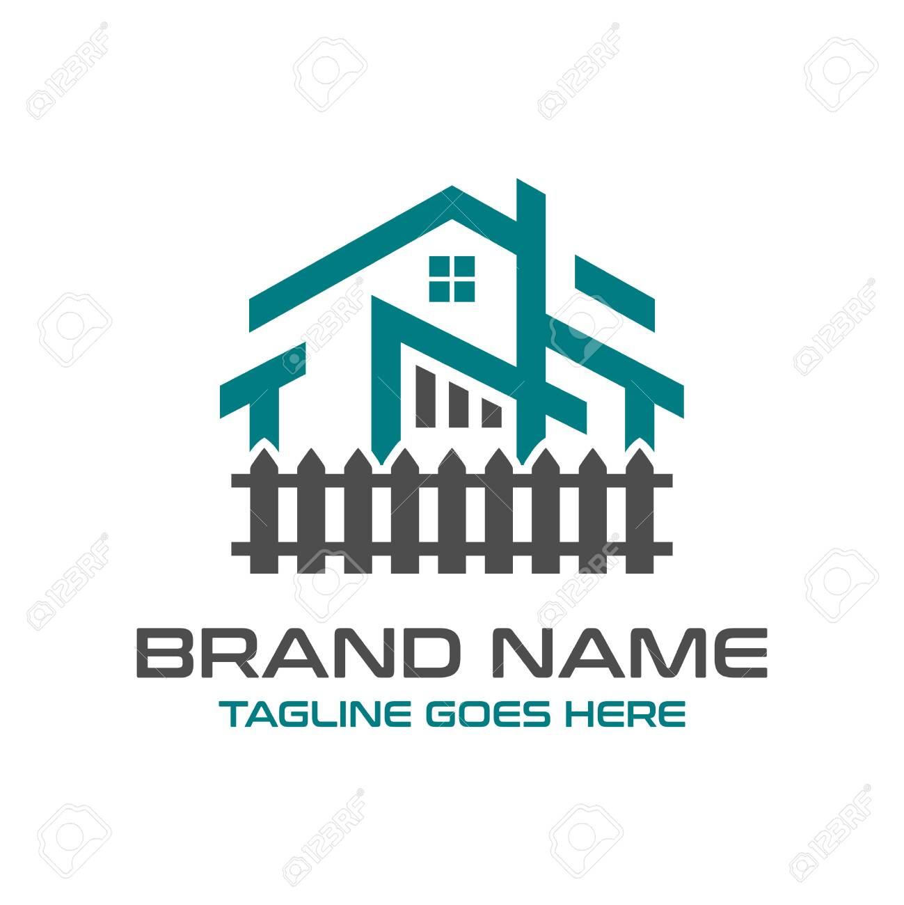 home logo design and hedgerows - 143745191
