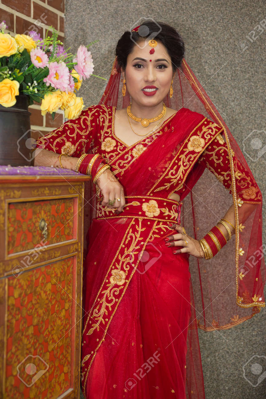Beautiful Nepali Bride with wedding dress and make up at the..