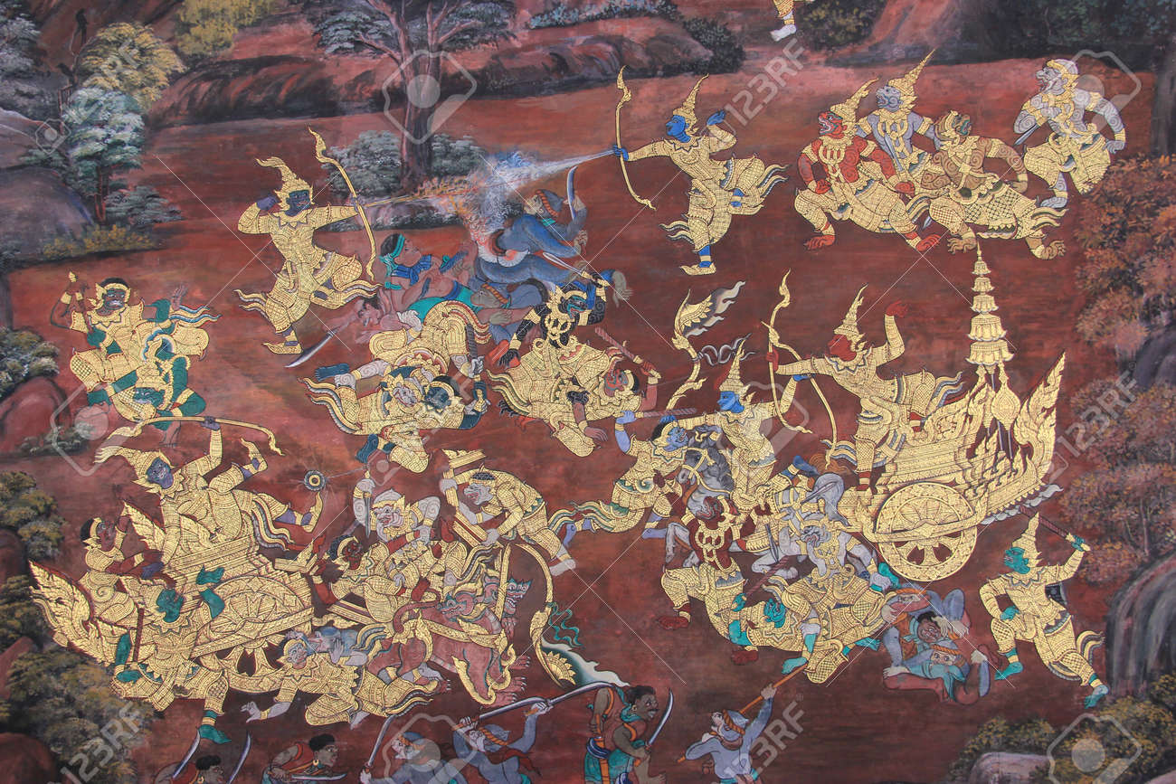 mural painting on wall of emerald buddha temple in bangkok mural painting on wall of emerald buddha temple in bangkok thailand stock photo 31887155